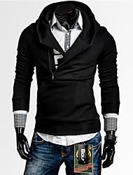 Normal Hoodies Hommes Décontracté / Quotidien simple,Couleur Pleine Noir Capuche Manches Longues Polyester Automne / Hiver Epais