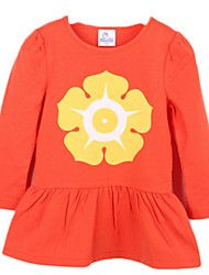 Girl's Orange / Gray Dress Cotton Spring / Fall