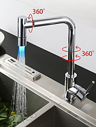 Contemporary Kitchen faucet LED Chrome Shower Kitchen Faucet