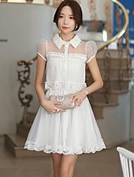 Mulheres Vestido Evasê Simples / Fofo Sólido Acima do Joelho Colarinho de Camisa Poliéster / Nylon / Elastano