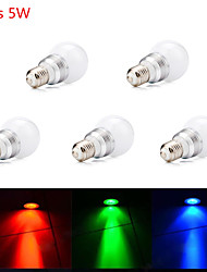 5PCS HRY® 5W E27 RGB LED Bulb Lamp Led Spot Light with Remote Control (85-265V)