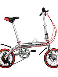 dequilon 14 pouces freins à six vitesses de disque vélo pliant vélo marché argent
