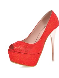 Women's Shoes Lace/Stiletto Heels/Peep Toe/Platform/Open Toe Wedding Shoes/Party & Evening/Dress Purple/Red