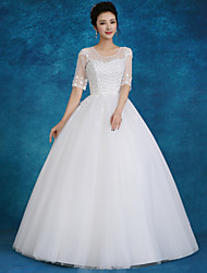 Ball Gown Wedding Dress Floor-length Jewel Lace / Tulle / Sequined with Beading / Pearl / Sequin