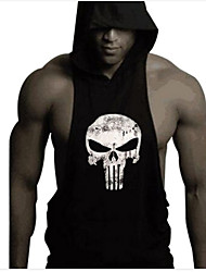 Men's Skull Printing Bodybuilding Fitness Sleeveless Hooded Tank Tops Casual / Sport Vest