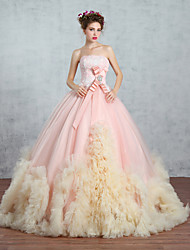 Princess Wedding Dress Wedding Dresses in Color Sweep / Brush Train Strapless Lace / Organza / Tulle withAppliques / Bow / Crystal /