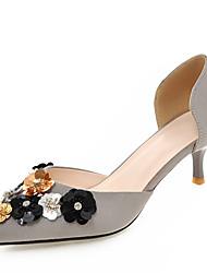 Zapatos de mujer-Tacón Bajo-Puntiagudos-Tacones-Boda / Vestido / Fiesta y Noche-Vellón-Negro / Rosa / Rojo / Gris