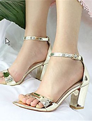 Women's Shoes Leather Chunky Heel Heels Sandals Outdoor / Dress Silver / Gold
