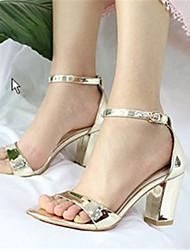 Zapatos de mujer-Tacón Robusto-Tacones-Sandalias-Exterior / Vestido-Cuero-Plata / Oro