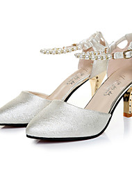 Women's Shoes Leatherette Stiletto Heel Heels / Pointed Toe Heels Office & Career / Casual Pink / White / Gold