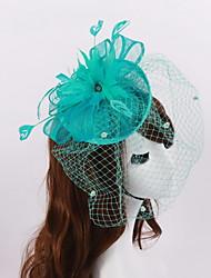 Women's / Flower Girl's Feather / Rhinestone / Flax Headpiece-Wedding / Special Occasion Fascinators 1 Piece