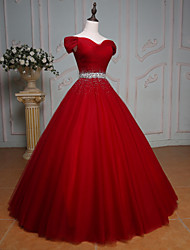 Formal Evening Dress Ball Gown Off-the-shoulder Floor-length Tulle with Beading / Crystal Detailing / Sequins