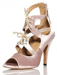Chaussures de danse(Noir Rose) -Personnalisables-Talon Personnalisé-Satin-Latine Salsa