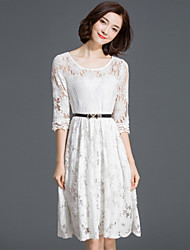 Women's Boho Solid Lace Dress,Round Neck Knee-length Polyester