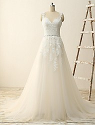 A-line Wedding Dress Sweep / Brush Train V-neck Tulle with Appliques / Sash / Ribbon