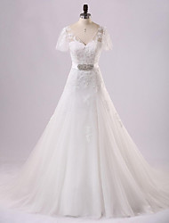 A-line Wedding Dress Court Train V-neck Lace / Tulle with Appliques / Lace / Sash / Ribbon