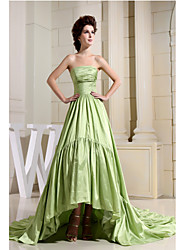 Formal Evening Dress A-line Strapless Asymmetrical Taffeta
