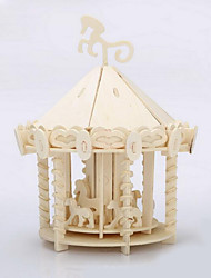 Puzzles 3D - Puzzle / Holzpuzzle Bausteine DIY Spielzeug Merry-go-round Holz Beige Model & Building Toy