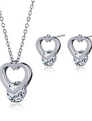 2016 Fashion Luxury Lovely Heart Shape Zircon Jewelry Set For Women