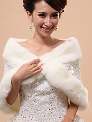Wedding  Wraps / Fur Vests / Hoods & Ponchos Capelets Sleeveless Faux Fur White Wedding / Party/Evening Off-the-shoulder Flower(s) / Lace