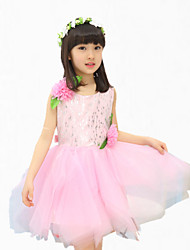 Girl's Pink / Purple / Red Dress,Floral / Bow Cotton / Polyester