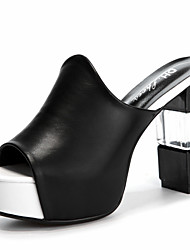 Women's Shoes Synthetic Chunky Heel Slippers Slippers Office & Career / Party & Evening / Dress / Casual Black / White