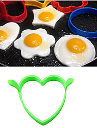 Silicone Heart-shaped Egg Fried Frier Molds Oven Eggs Ring Mould Kitchen Tool(Random Color)