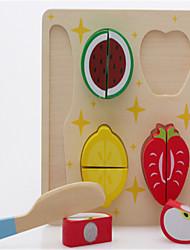 la cocina de la casa de madera del juguete del rompecabezas del bebé fruta cortada vegetales rebanada