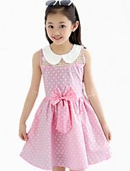 Girl's Blue / Pink Dress,Dot Cotton Summer