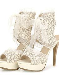Women's Shoes  Stiletto Heel Heels / Peep Toe / Platform Sandals Wedding / Party & Evening / Dress Black / Beige