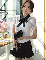 Women's Color Block White Blouse,Shirt Collar Short Sleeve