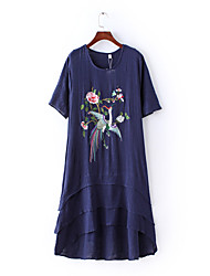 Women's Vintage Floral Tunic Dress,Round Neck Asymmetrical Cotton / Linen