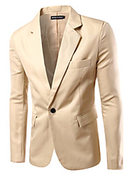 Men's Solid Color Single Row Of A Buckle Casual Blazer,Cotton / Polyester Solid