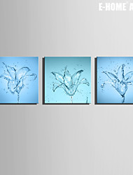 E-HOME® Stretched Canvas Art Flowers Made Of Water Decoration Painting  Set of 3