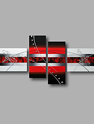 """Stretched (Ready to hang) Hand-Painted Oil Painting 72""""x40"""" Canvas Wall Art Modern Abstract Black White Red"""