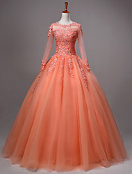 Princess Wedding Dress-Orange / Fuchsia / Burgundy / Pearl Pink Floor-length Jewel Lace / Tulle