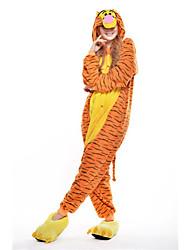 Kigurumi Pajamas Tiger Leotard/Onesie Festival/Holiday Animal Sleepwear Halloween Yellow Patchwork Polar Fleece Kigurumi For Unisex