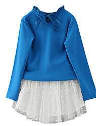 Girl's Blue Clothing Set,Bow Cotton Spring / Fall
