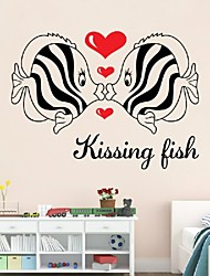 Waterproof Wardrobe Ceramic Tile Decorative Painting Couple Living Room Sofa Bedroom Bed Wall Stickers Kiss Fish