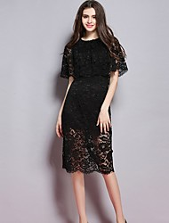 Women's Vintage Solid Sheath Round Neck Knee-length Lace Dress