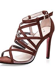 Women's Shoes Velvet Stiletto Heel Heels Sandals Casual Black / Brown / Gray / Almond