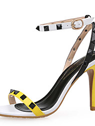 Women's Shoes Leather / Synthetic Stiletto Heel Heels Sandals Wedding / Party & Evening / Dress Yellow / Red