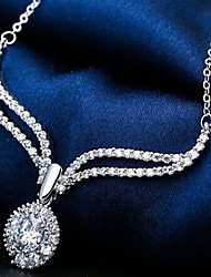 Elegant Silver Full -Crystal Zircon Pendant Necklace for Lady Wedding Party Gift