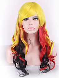 Anime Cosplay Harajuku Is Yellow and Red Gradient Inclined Liu Haichang Straight Hair Wigs