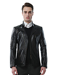 Mens Black Leather Jacket Biker Large Genuine Real Leather Motorcycle