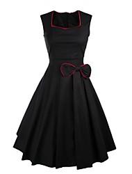 Lolita classica e tradizionale Smanicato Lunghezza media Nero Cotone Lolita Dress