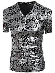 Tee-shirt Homme,Imprimé Plage Soirée Vacances Sexy Chic de Rue Punk & Gothique Toutes les Saisons Manches Courtes Col en VPolyester