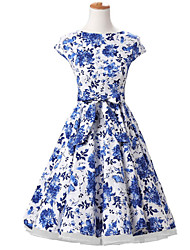 50s Era Vintage Style Cap Sleeves Rockabilly Dress Cosplay Costume Blue White Floral (with Petticoat)