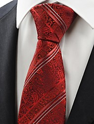 Red Scarlet Lovely Paisley Striped Men Tie Necktie Wedding Valentines Gift KT0021