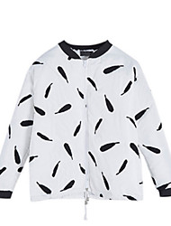 Women's Print White / Black Coat,Simple Long Sleeve Cotton